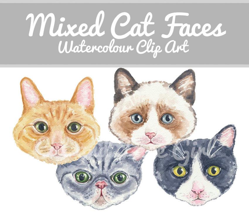 Cat clipart watercolor. Clip art original hand