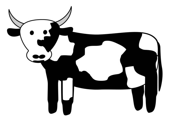 Cow black and white. Cows clipart simple
