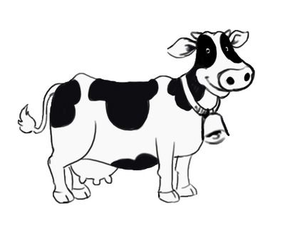 Cow clipart black and white. There is cartoon clock