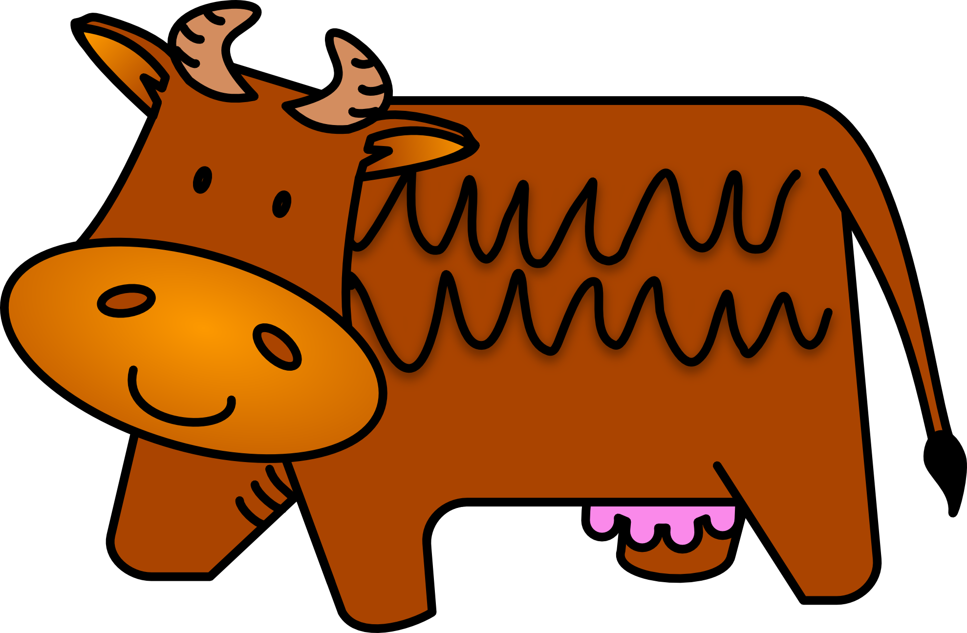 Cows clipart fence. Brown cow
