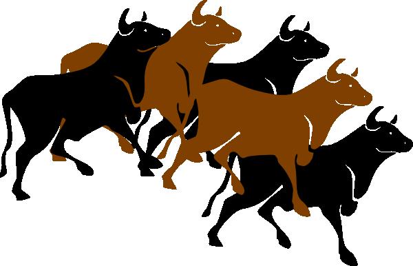 Herd of cows . Bull clipart beast