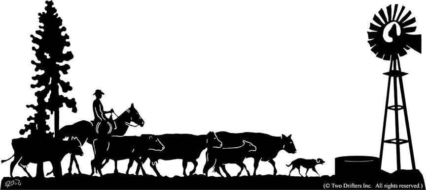 Cattle clipart cattle drive.  inch x decorative