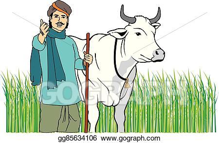 Clip art vector farmer. Cattle clipart cow indian