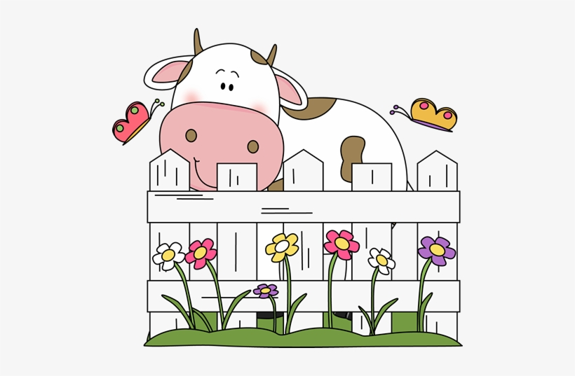 Cattle farm behind of. Cow clipart fence