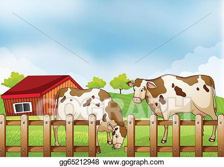 Cow clipart fence. Vector art a farm