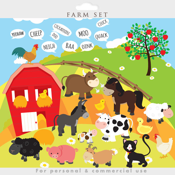 Farmhouse clipart. Farm animals clip art