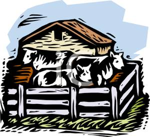 Cattle clipart house. A colorful cartoon of