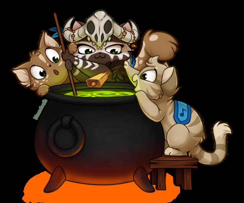 Cauldron clipart alchemy. Kitties by kamirah on
