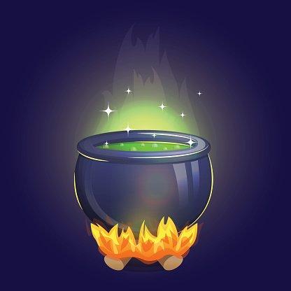 Cauldron clipart alchemy. Magic witch on fire