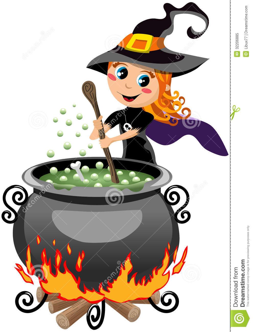 Cute witch clip art. Cauldron clipart brew