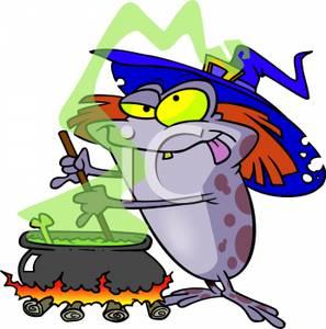 A cartoon frog wearing. Cauldron clipart brew
