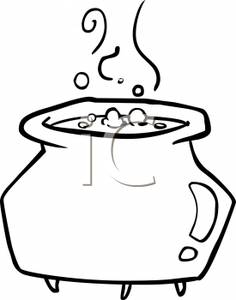 Cauldron clipart brew. Black and white cartoon