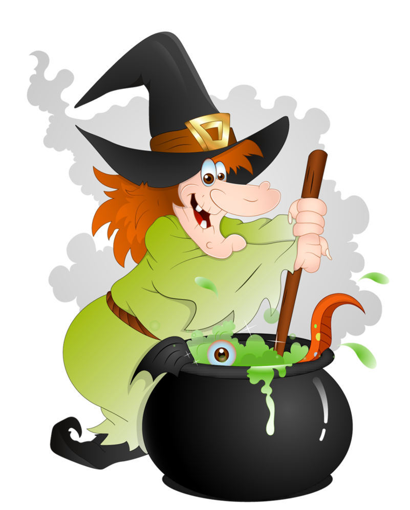 Witch clipart animated. Halloween with cauldron png