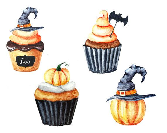 Watercolor cupcake pumpkin . Cauldron clipart halloween food