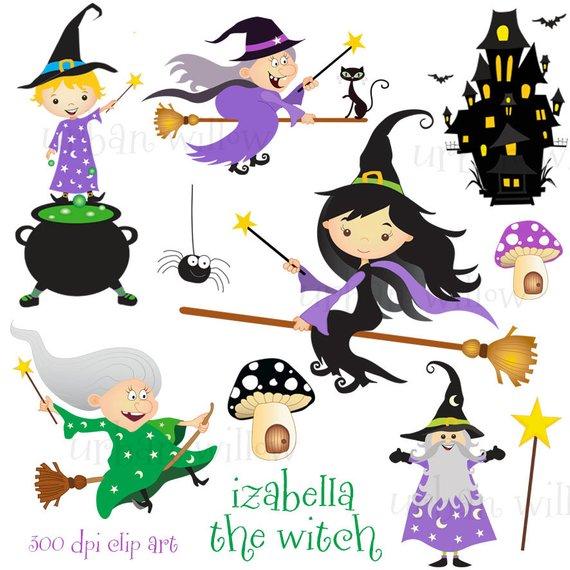 Magic cauldron digital graphics. Witch clipart wizards
