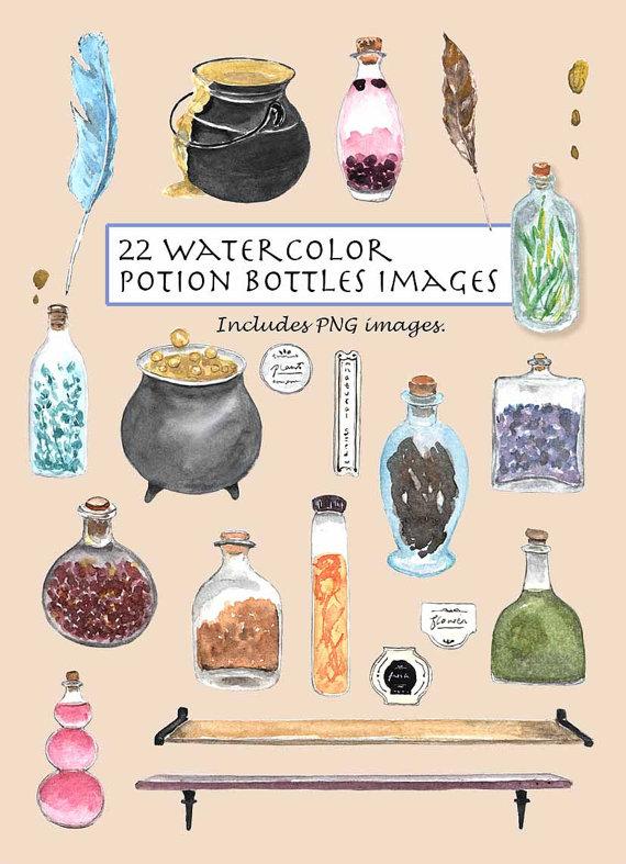 Cauldron clipart potion. Clip art watercolor bottles