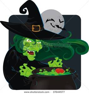 A cackling green witch. Cauldron clipart potion