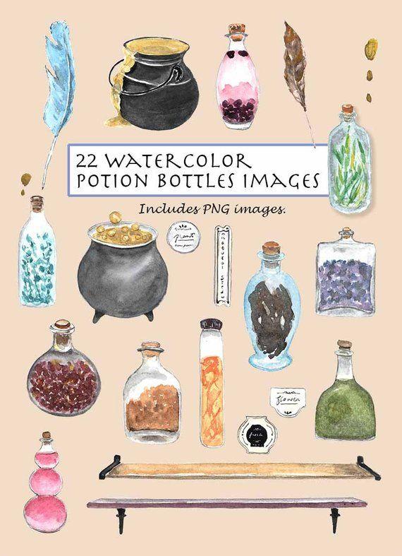 Clip art watercolor bottles. Cauldron clipart potion
