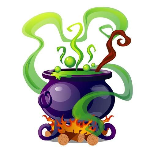 Cauldron clipart potion. Steel with boiling green