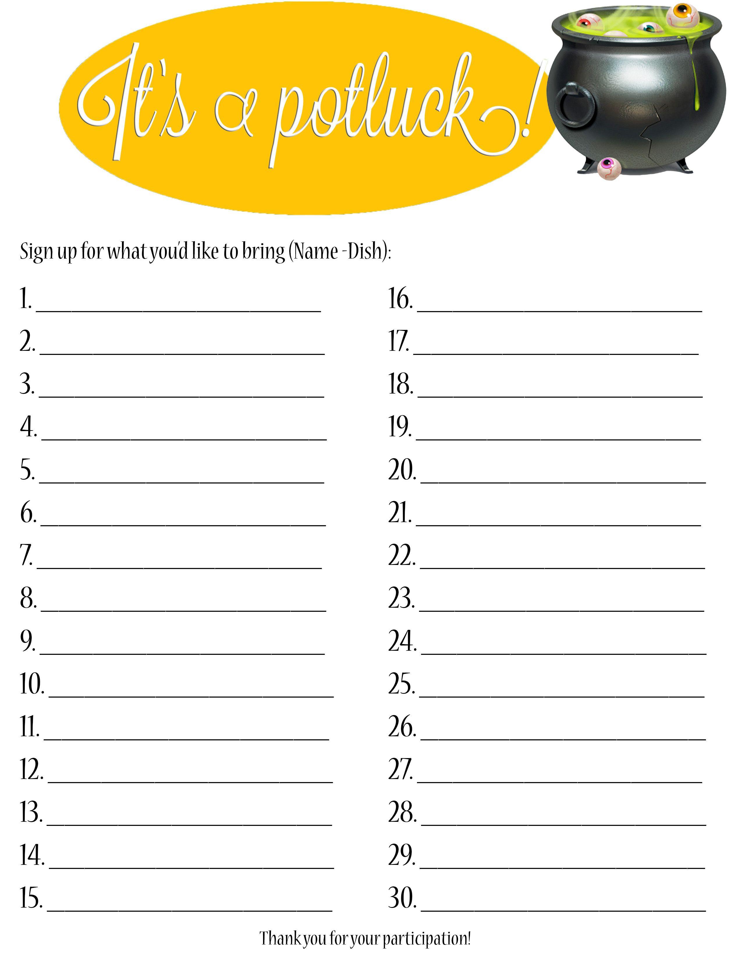 Halloween sign up sheet. Cauldron clipart potluck