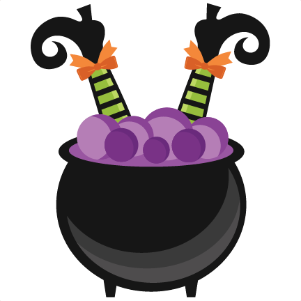Witch in scrapbook cut. Cauldron clipart svg