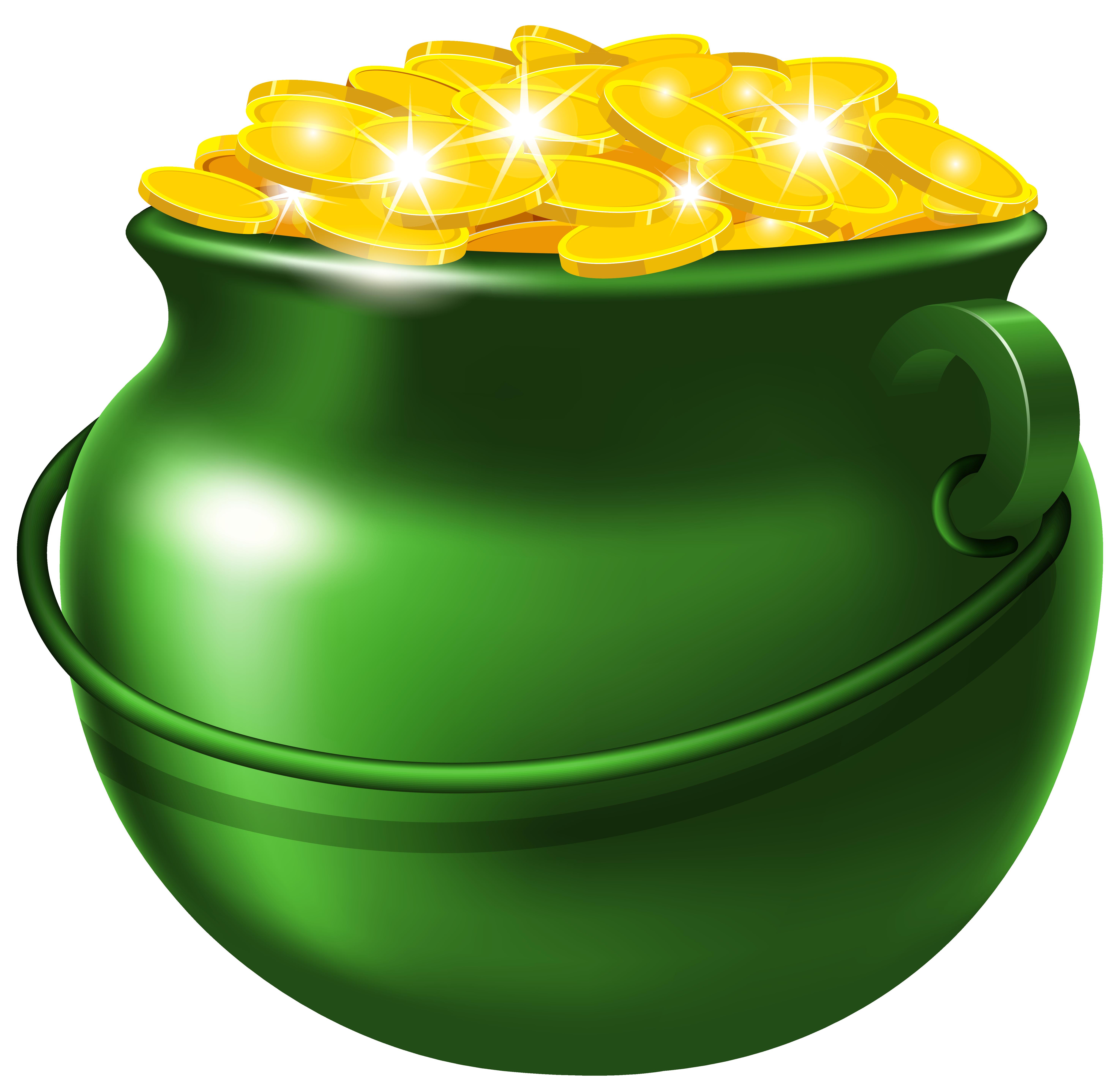 Green pot of gold. Treasure clipart golden