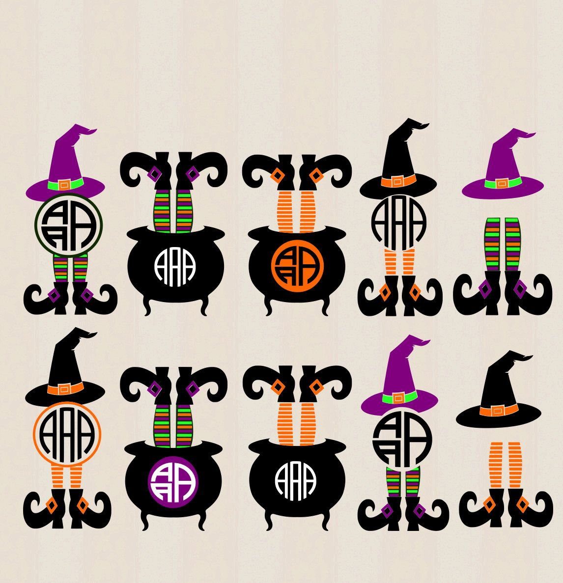 Halloween design legs in. Witch clipart monogram