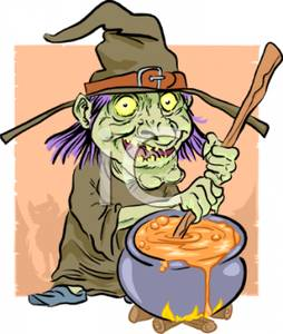 Cartoon of a wicked. Cauldron clipart witch's brew