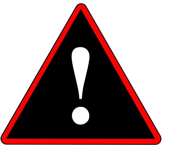Red warning clip art. Caution clipart black and white