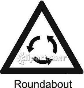 Roundabout sign royalty free. Caution clipart black and white