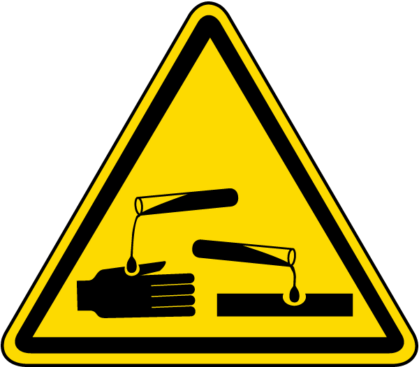 Caution clipart carefully. Corrosive substance warning label
