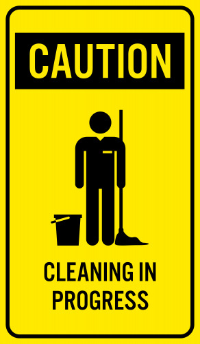 Pull the cleaning material. Caution clipart carefully