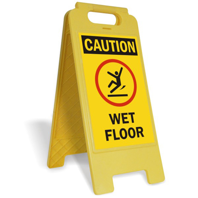 Free standing sign with. Caution clipart caution wet floor