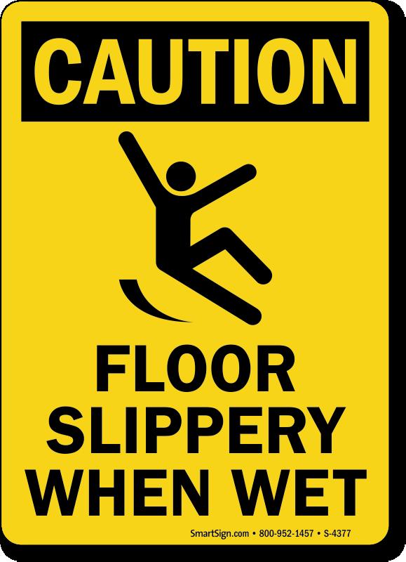 Caution clipart caution wet floor. Slippery when signs osha