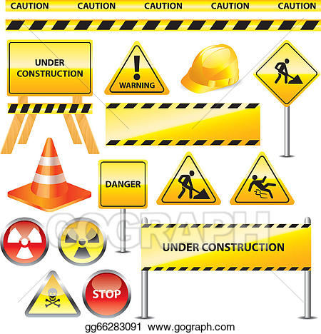 Vector stock warning and. Caution clipart construction sign