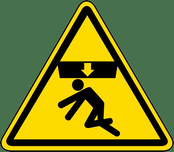 Body crush warning label. Emergency clipart danger symbol