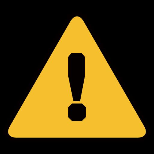 Warning sign for facebook. Caution clipart emoji