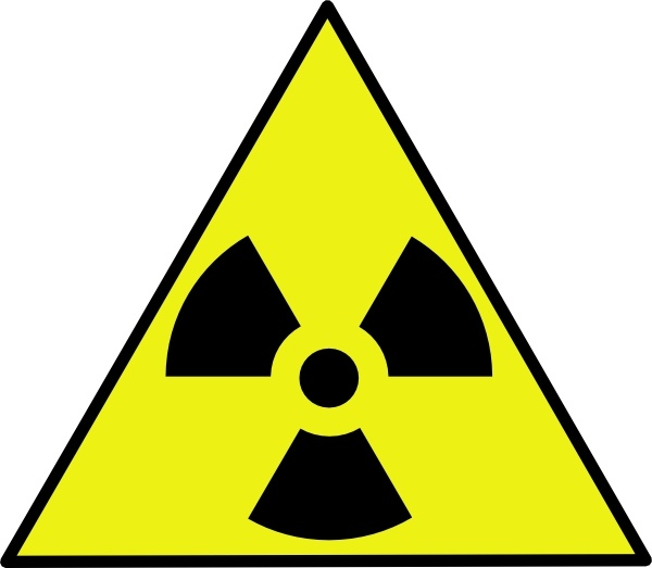 Nuclear zone warning clip. Caution clipart hazard sign