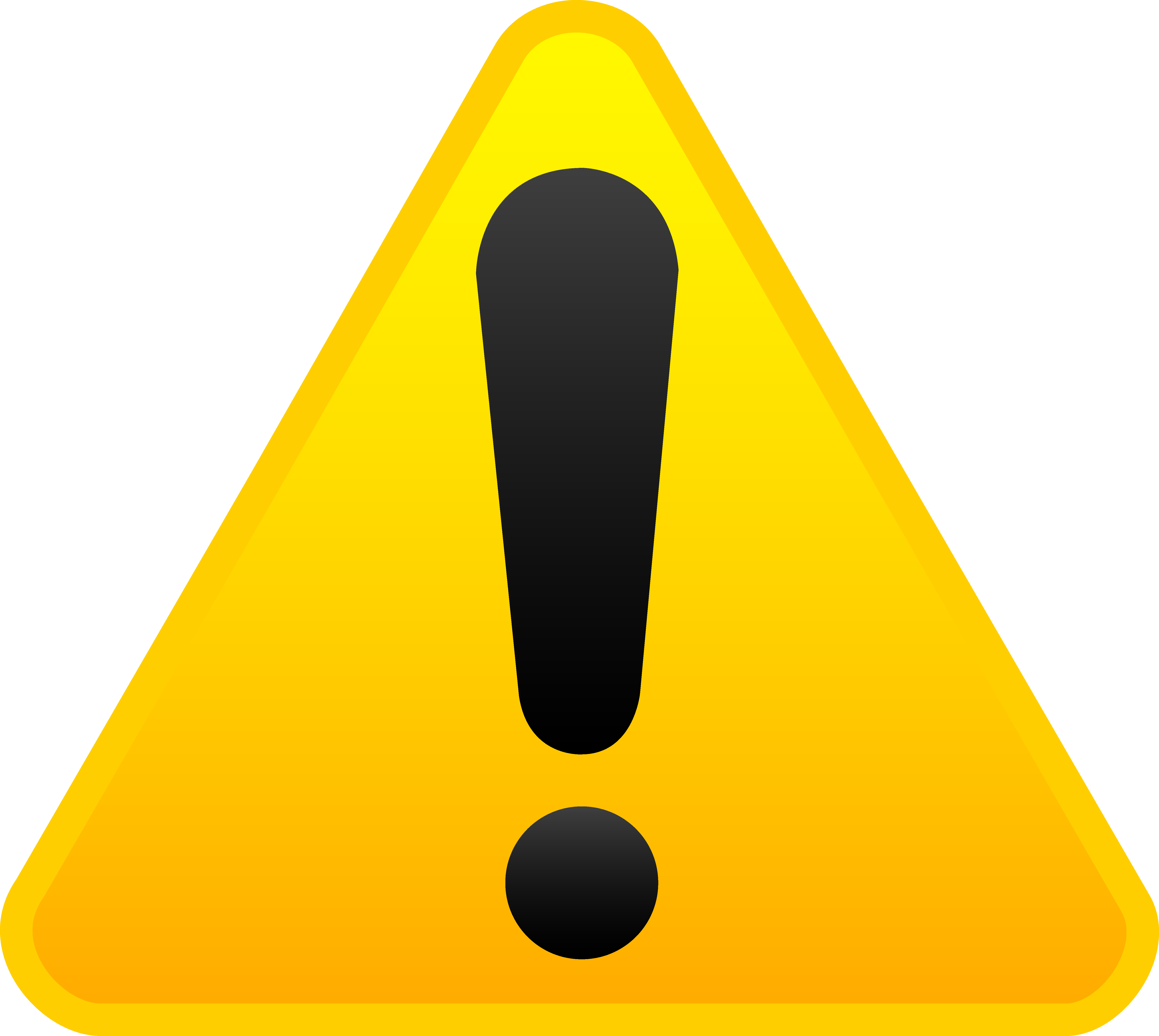 Yellow exclamation alert symbol. Caution clipart mark