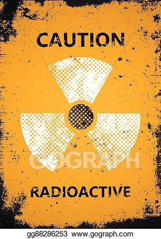 Caution clipart radioactive. Vector illustration poster grunge