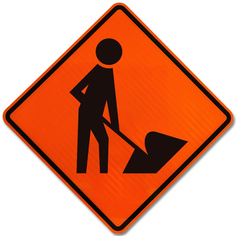 Caution road work sign