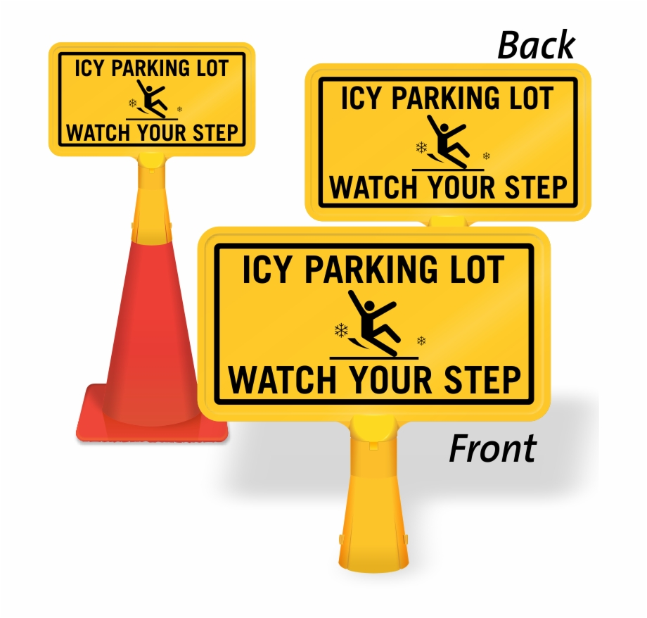 Caution sign icy . Parking lot clipart two wheeler