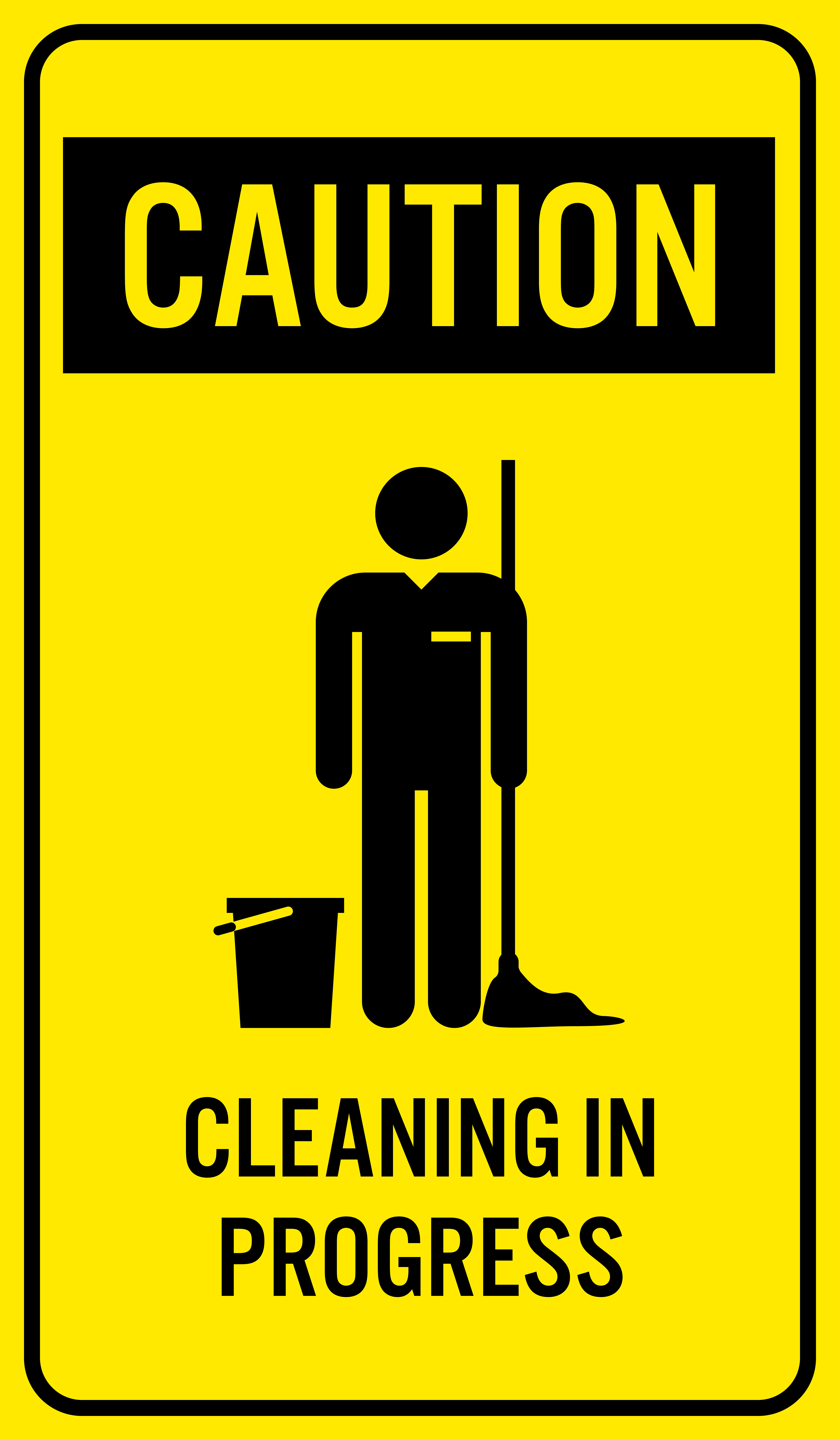Caution clipart situation. Cleaning in progres sign