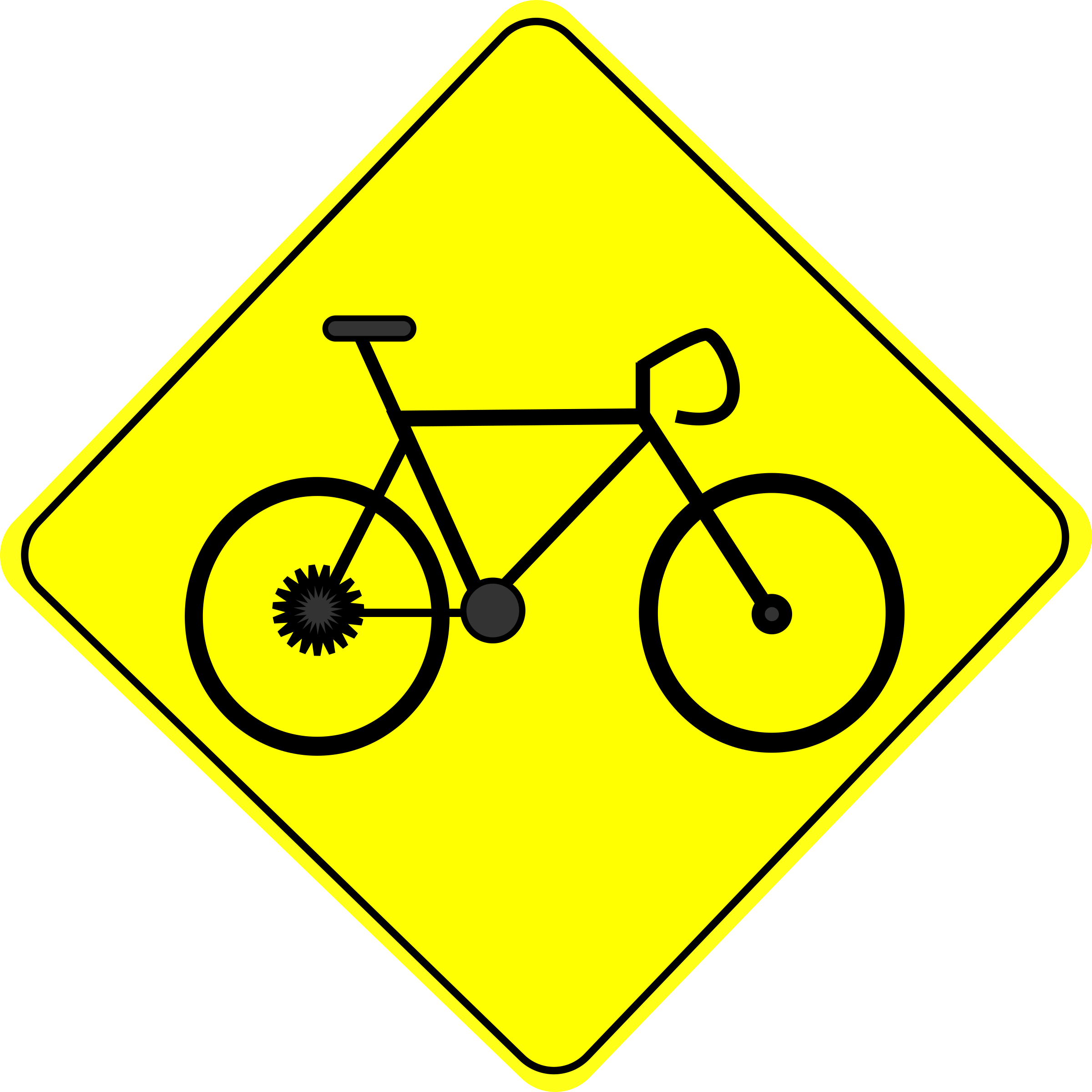 Bike crossing caution sign. Clipart road outline