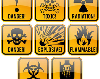 Caution clipart toxic sign. Radiation symbol etsy signs