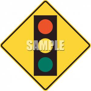 Caution clipart traffic. Yellow signal ahead sign
