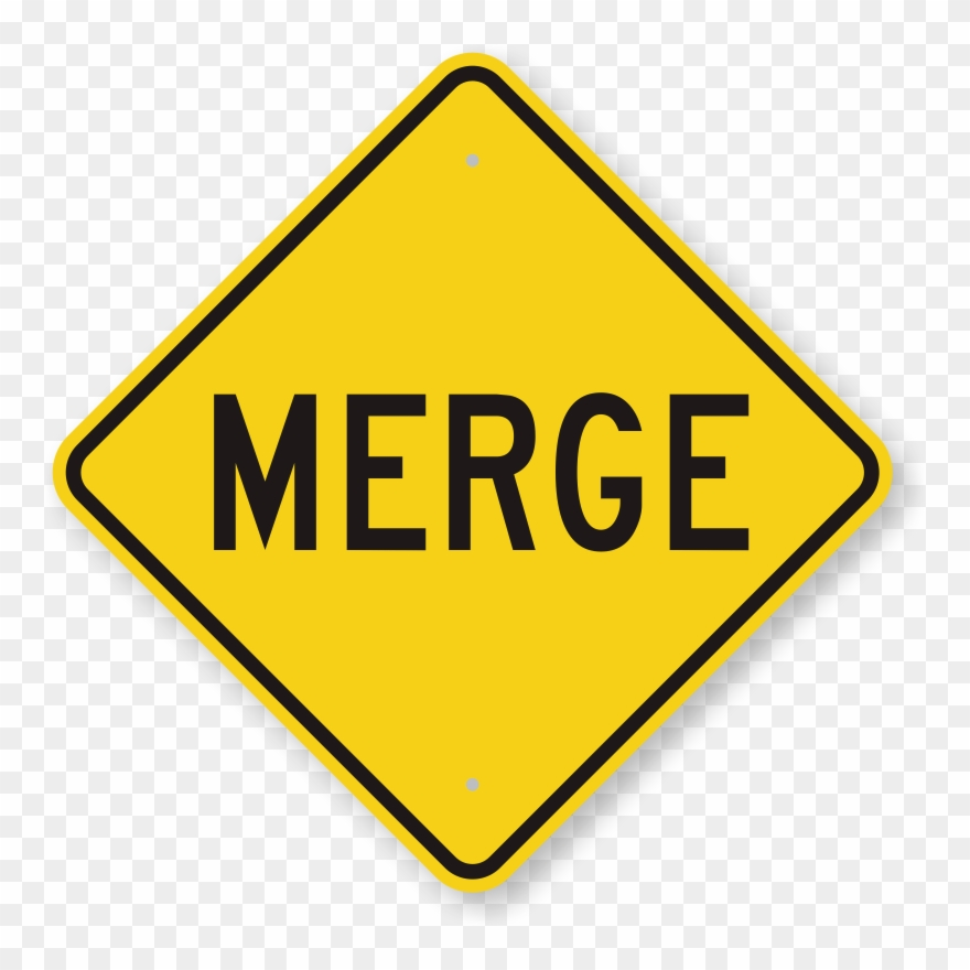 Merge road control sign. Caution clipart traffic