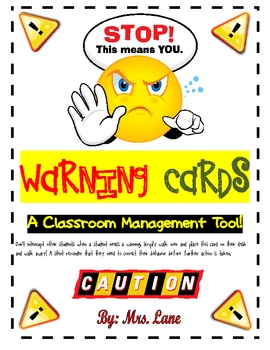 Caution clipart verbal warning. Cards teaching resources teachers
