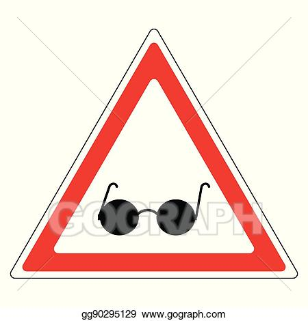 Caution clipart warning triangle. Vector art sign blind