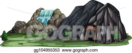Eps vector a mining. Cave clipart background
